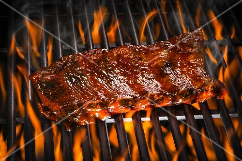 Spare ribs on a barbecue