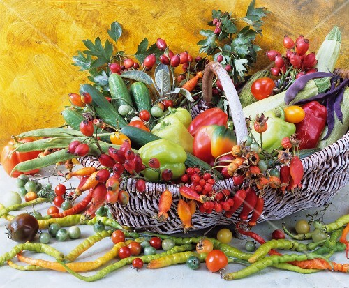 A basket of various vegetables and rosehips