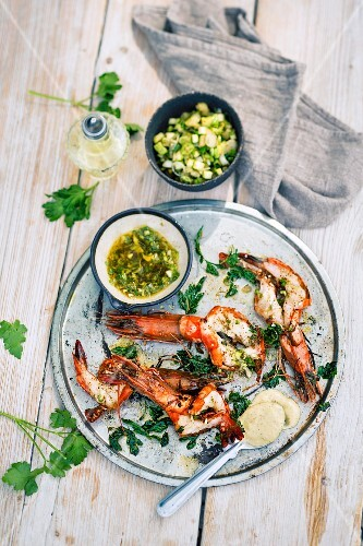 Marinated and grilled king prawns with spicy aioli