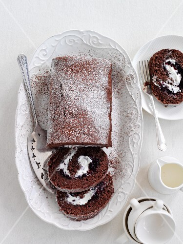 Chocolate Swiss roll filled with cream (seen above)