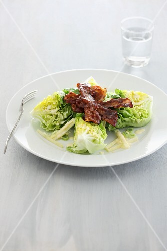 Cos lettuce with crispy bacon
