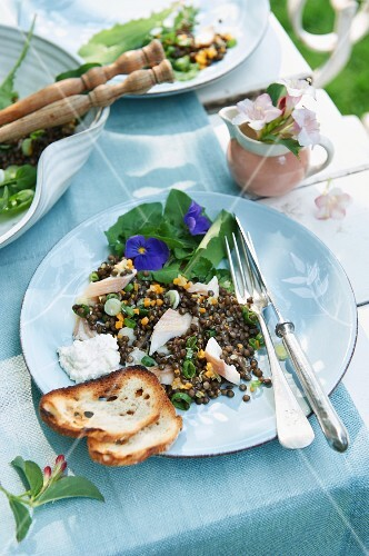 Trout fillets with marinated lentils