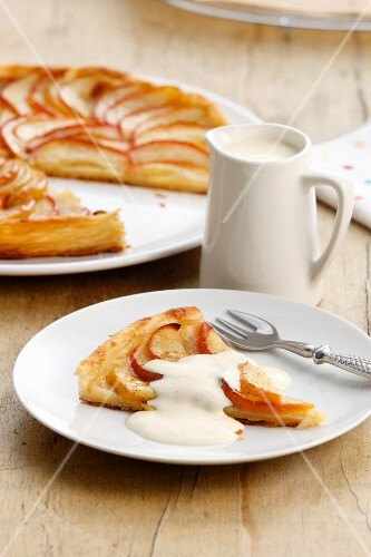 French apple tart with cream