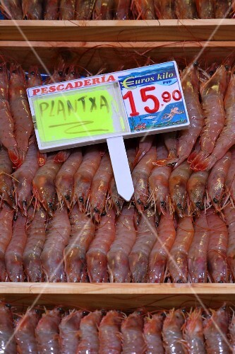 Prawns at the fish market in Bilbao, Basque Country, Spain