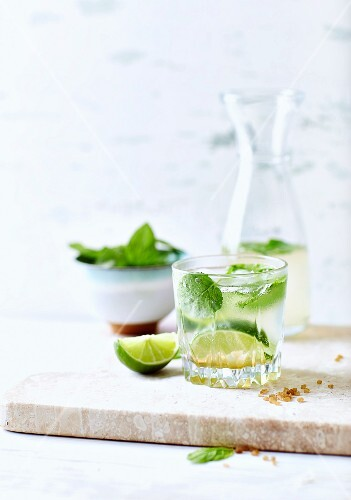 Mojito with limes and mint