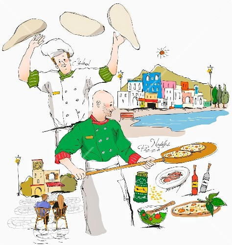 A chef, a pizza baker and typical sights and food from Italy