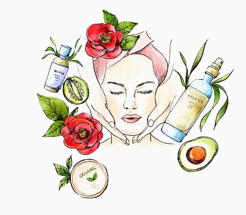 Woman receiving facial massage surrounded by ingredients used in natural cosmetics (illustration)