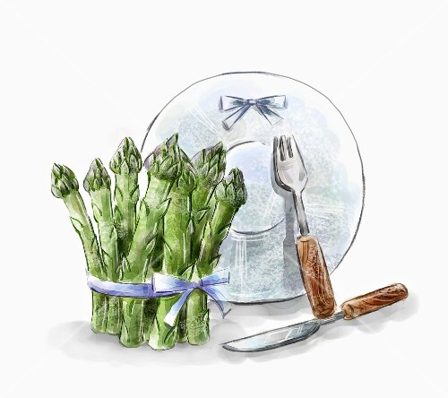 An arrangement of green asparagus, a plate and cutlery (illustration)