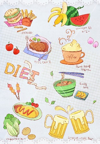 Various illustrations on the topic of dieting