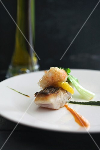 Sea bass fillet with a prawn and two sauces