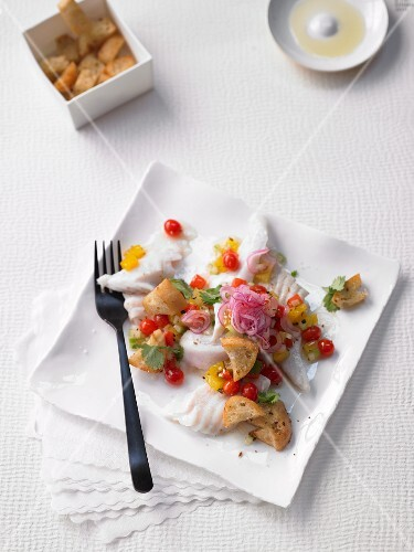 Gazpacho turbot salad with ciabatta croutons