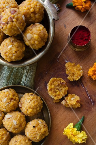 Boondi ladoo (sweet fried dumplings, India)