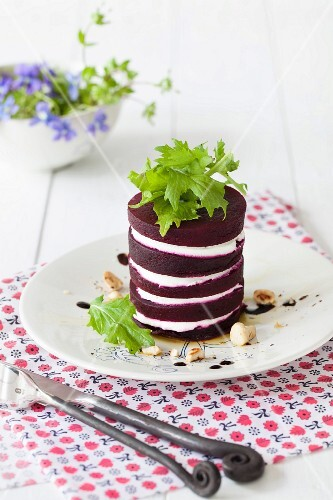 A beetroot and goat's cheese tower