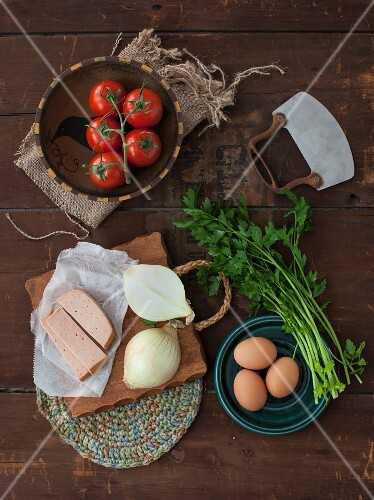 Ingredients for a rustic omelette