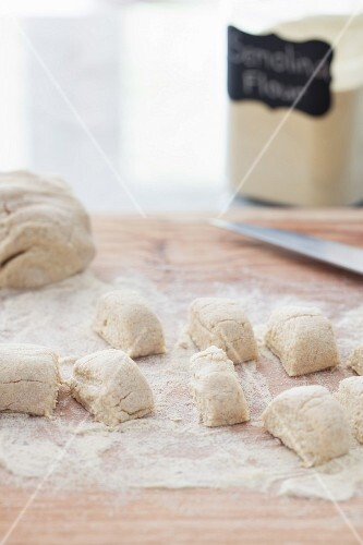 Lenivie Vareniki (Russian vanilla and ricotta dumplings made with wholemeal flour) being made
