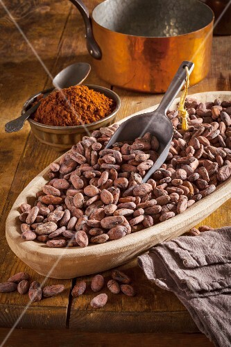 A bowl of cocoa beans and a scoop, cocoa powder and a copper pan