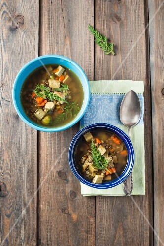 Vegetable soup with grain and smoked, diced tofu with wild carrot leaves