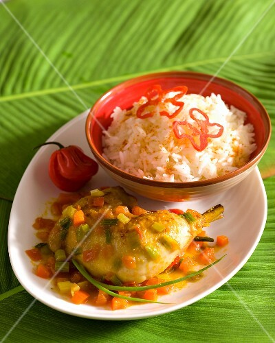 Chicken colombo with rice (Antilles, Caribbean)