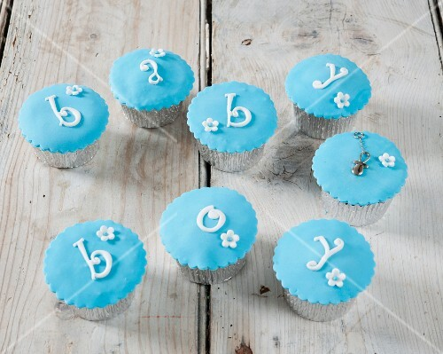 Blue cupcakes for a christening
