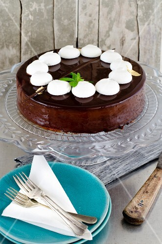 A luxurious chocolate cake with chocolate glaze, white meringues and mint