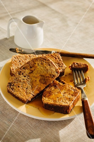 Banana bread French toast with syrup