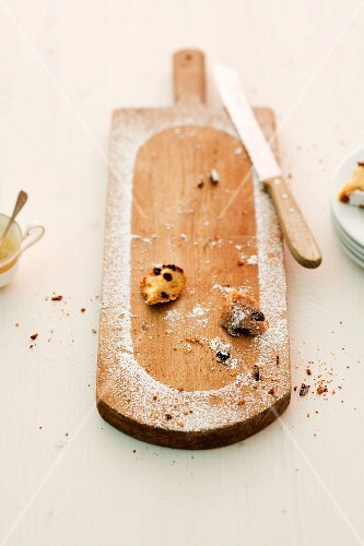 The remains of stollen on a chopping board
