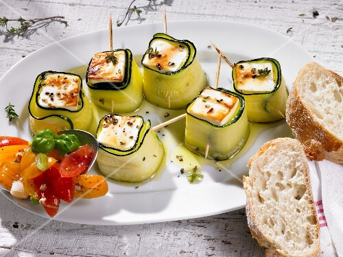 Feta and courgette rolls