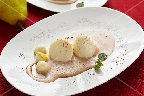 Pear mousse with chocolate sabayon