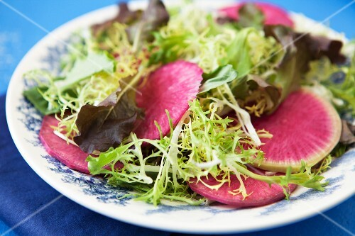 Frisee lettuce with pink radish