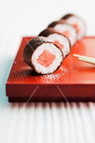 Sweet maki sushi with watermelon
