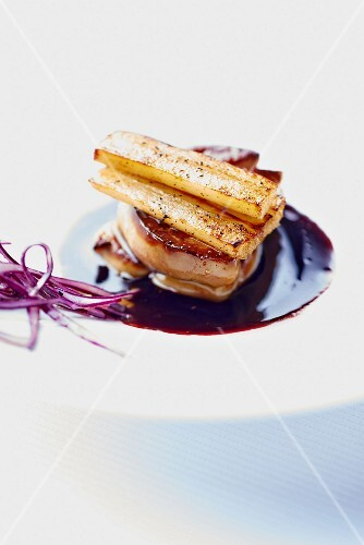 Foie gras with black salsify