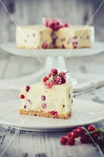 A slice of redcurrant and mascarpone cake