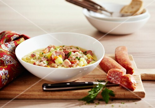 Luxembourg potato stew with bacon and sausage