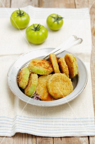 Sliced breaded, fried green tomatoes
