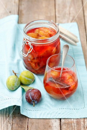 Stewed plums with cinnamon