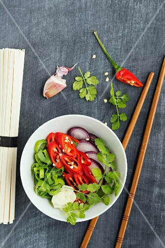 Ingredients for a simple vegetarian noodle dish from Asia