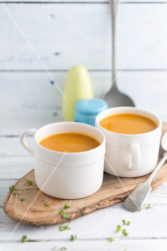 Two cups of butternut squash soup