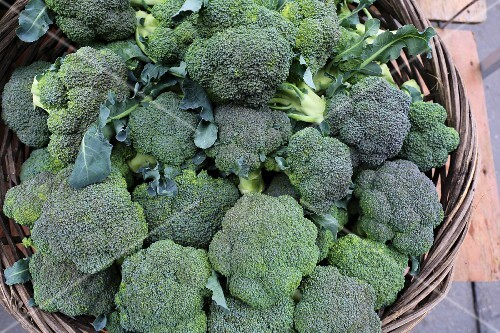 Organic green broccoli in a wicker basket at a market