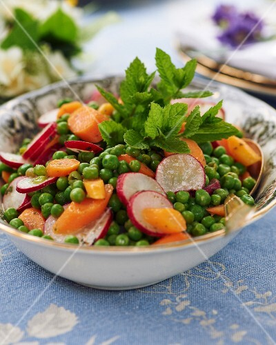 Pea and carrot salad with radishes and a mint dressing