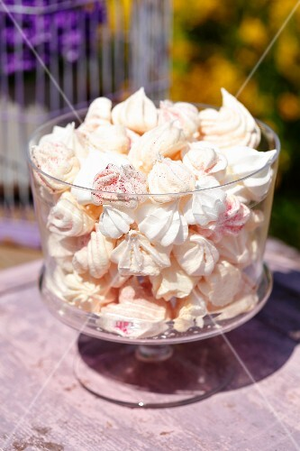 Meringues in a glass bowl