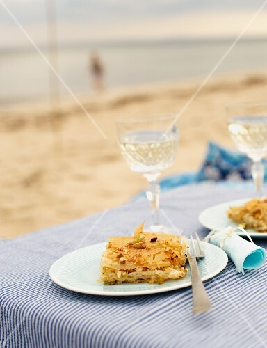 Baklava with cashew nuts for a beach picnic