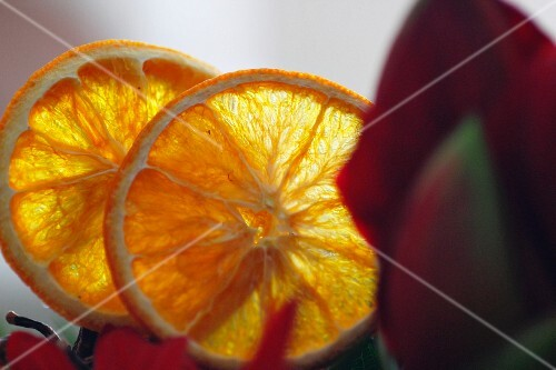 Two orange slices with an amaryllis flower