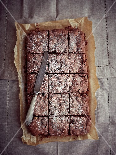 Chocolate brownies with cranberries for Christmas