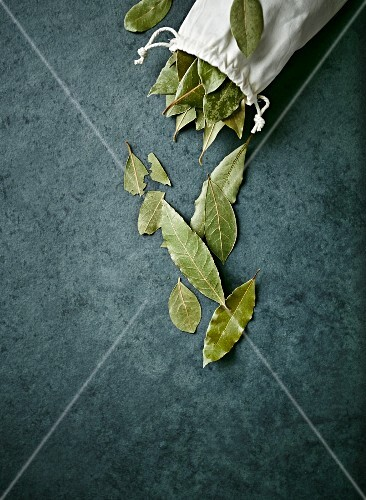 Dried bay leaves on a stone surface and in a linen bag