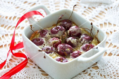 Cherry clafoutis in a baking dish