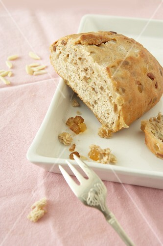 Diabetic stollen with almonds and candied fruit