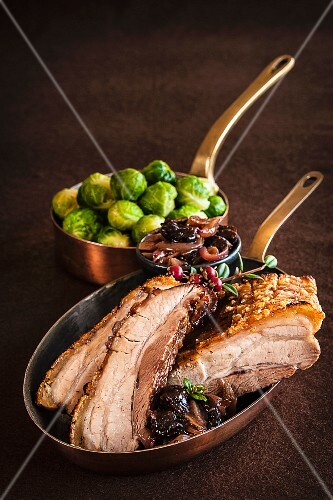 Roast pork belly with Brussels sprouts