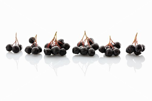 Fresh aronia berries on a white surface