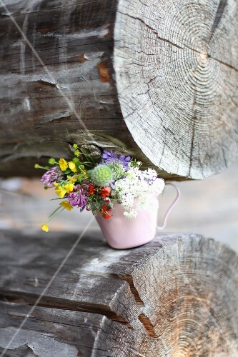 Posy of wild flowers in cup on log