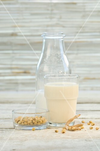 Soya milk in a glass and a bottle